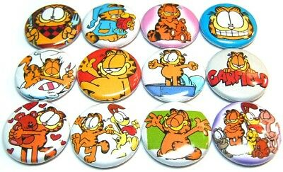 "12 GARFIELD - Buttons Pinbacks 1"" Pins Badges Retro 80's Cartoons Cat Odie LOve"