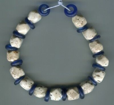 African Trade beads Vintage Venetian old glass bead white cornerless cubes Dogon