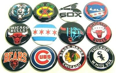 """12 CHICAGO SPORTS TEAMS Buttons ONEin 1"""" Pins Bulls Bears Cubs SOX Hawks CHITOWN"""