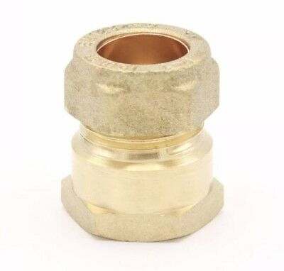 "15mm Compression x 1/2"" Inch BSP Female Iron Adaptor / Coupler Brass - Qty: 5"