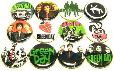 "12 GREEN DAY - ONE Inch Buttons 1"" Pinback Pins - BJ Armstrong Punk Rock Band"