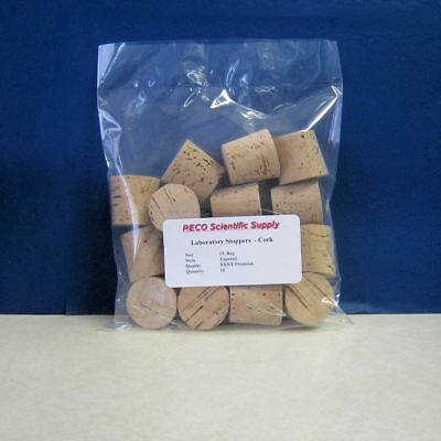 Tapered Cork Stoppers, RECO Premium grade, Size 19 XXXX Reg, Pack of 15, New