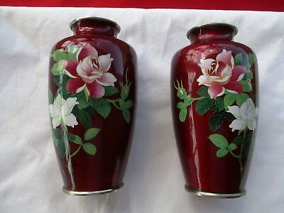 Pair of Vintage Red Japanese CLOISONNE Vases Roses Bird Bamboo Floral (1315)