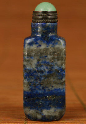 chinese lapis lazuli Jade Hand Carved Statue Snufff Bottle