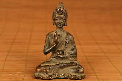 chinese Tibet old bronze hand carving buddha statue figure blessing decoration