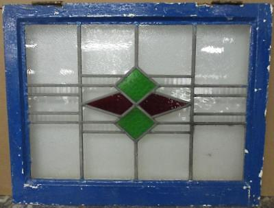 "MID SIZED OLD ENGLISH LEADED STAINED GLASS WINDOW Gorgeous Geometric 28"" x 22"""