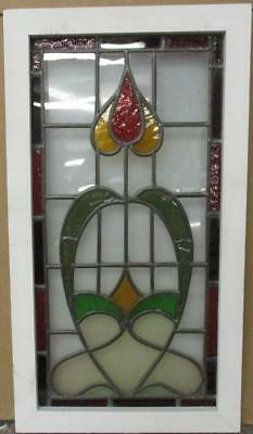 "VICTORIAN ENGLISH LEADED STAINED GLASS WINDOW Gorgeous Abstract 15"" x 27.25"""