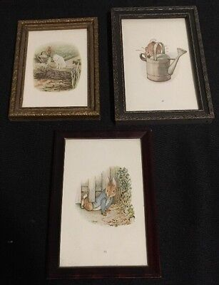 Beatrix Potter Peter Rabbit Lot of 3 Framed Pictures for Nursery Baby Child Room