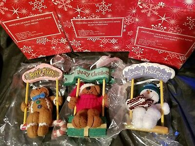 Avon 3 Set Swinging Holiday Christmas Ornaments Bear Gingerbread Snowman New box