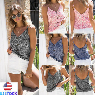 Women V Neck Button Cami Vest Sleeveless Backless Blouse Casual Loose Floral Top