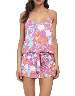 099d51ac2f9 Lilly Pulitzer Size L Deanna Tank Romper Shorely Blue Feeling Tanked Floral