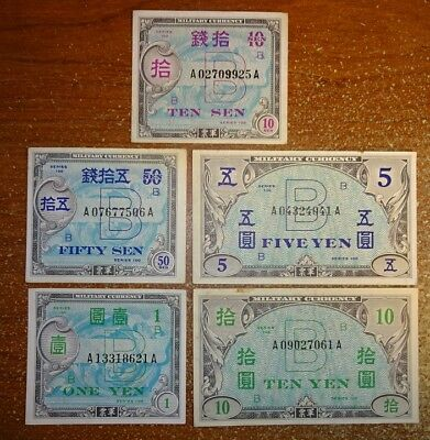 Japan Set Of (5) Wwii World War 2 Notes !!!