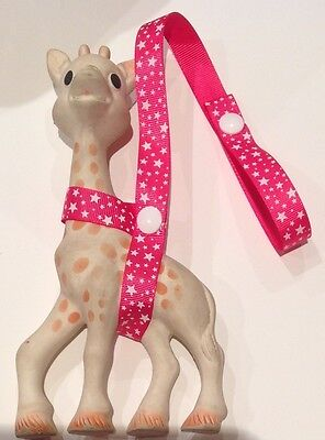 HOT PINK/WHITE STAR Toy saver strap for Sophie the giraffe /baby shower gifts