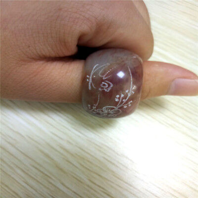 Natural Hand Engraving Plum Blossoms And Chinese Characters Jade Ring
