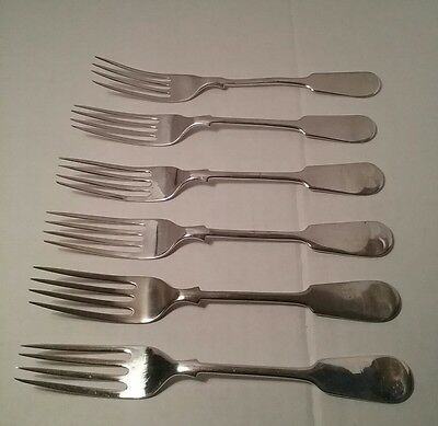 Set of 6 antique silver plated forks Phillip Ashberry & Sons, Sheffield