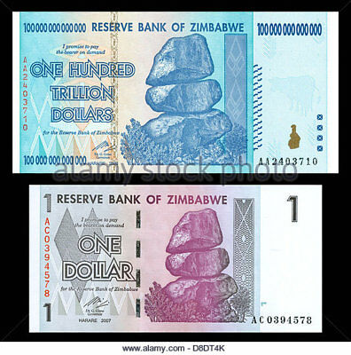 PAIR Zimbabwe one 100 Trillion Dollar AND one 1 Dollar - Uncirculated Minty
