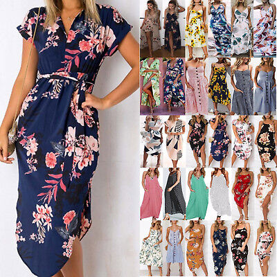 Plus Size Women Beach Floral Print Sundress Holiday Ladies Party Midi Dresses AU