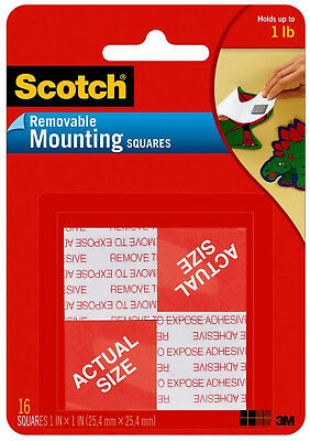 """Scotch Removable Mounting Squares 1"""" x 1"""" Double Sided Foam 3M Adhesive 16ct"""