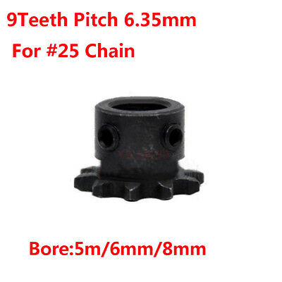 "1Pc Drive Sprocket  04C 9Teeth Pitch 1/4"" 6.35mm Bore 5mm/6mm/8mm For #25 Chain"
