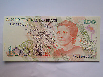 BRASIL 100 CRUZIEROS BANK NOTE EXCELLENT UNCIRCULATED CONDITION c2000
