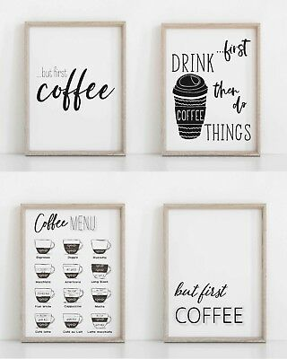 Kitchen Wall Art Prints Coffee Poster Coffee Sign Typographic Print