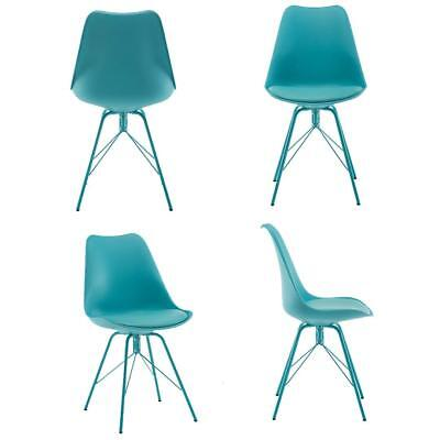Set of 4 Eames  Classic Dining Chairs with Metal Legs Modern Style Elegant Blue