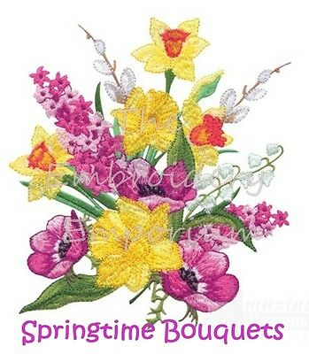 Springtime Bouquets  Collection - Machine Embroidery Designs On Cd