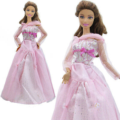 Fashion Princess Dress Pink Long Sleeves Gown Wedding Clothes For Barbie Doll K