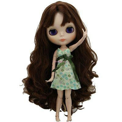 Cute Girl Handmade Green Floral Liberty Sun Slip Dress Clothes For Blythe Doll