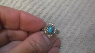 Vintage Coventry Signed Silvertone Adjustable Ring With Faux Turquoise Stone