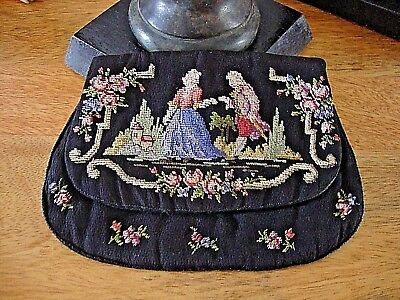 Vintage/Antique Tapestry Petit Point Embroidered Evening Cocktail Bag very sweet