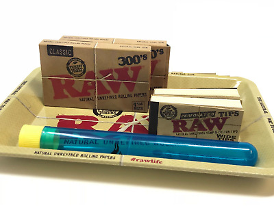 Bundle Combo 2x RAW Classic 300's Rolling Paper & Perforated Tips + Tray + Tube