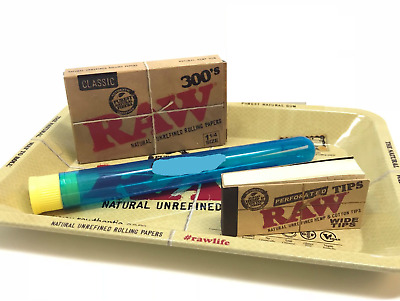 Bundle Combo - RAW Classic 300's Rolling Paper + Perforated Tips + Tray + Tube