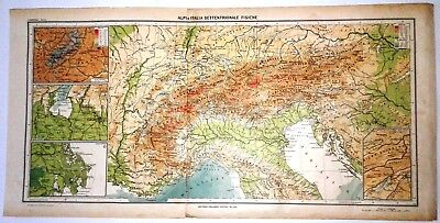 Cartina 3d Alpi.Carta Geografica Antica Italia Settentrionale E Alpi 1939 Old Antique Map Eur 24 00 Picclick It