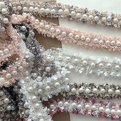 1 Yard Faux Pearl Ruffle Edge Trim DIY Craft Sewing Decor Materials Trimming New