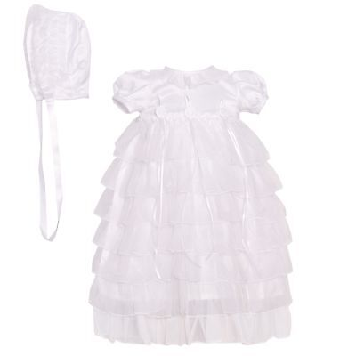 The Children's Hour Baby Girls White Tiered Christening Bonnet Dress 0-3M