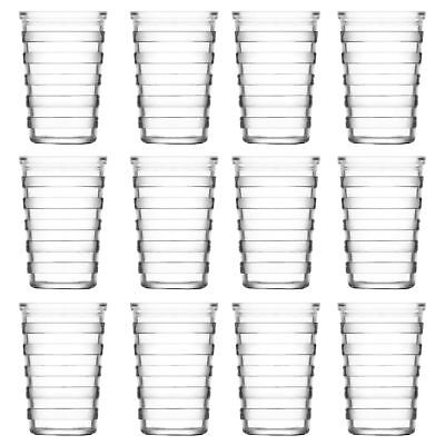 Stripe Glass Water Tumblers - 200ml - 12 Table Glasses for Soft Drinks / Juice
