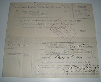 The Colorado Springs & Cripple Creek Dist. Ry. Co. payment voucher 108 years ol