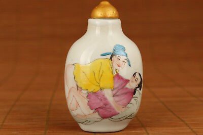 Rare chinese Porcelain Hand PAINTING life statue big Snuff bottle