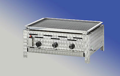 K+F Lavasteingrill mit Propangas, 3-flammiger Gasgrill - Made in Germany