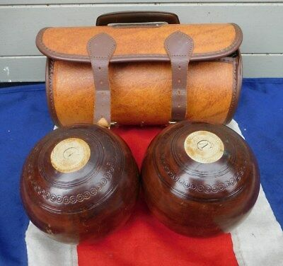 Lovely Cased Antique Vintage Wooden Lignum Vitae Jaques Of London Lawn Balls