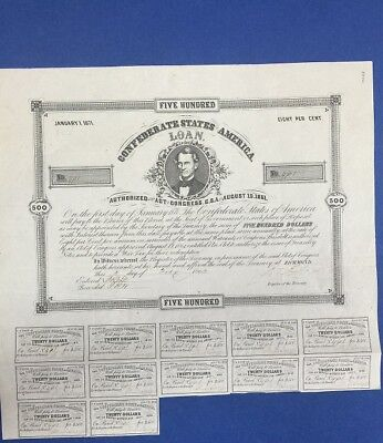 $500 Confederate States Coupon Bond – Criswell 59, Ball 65