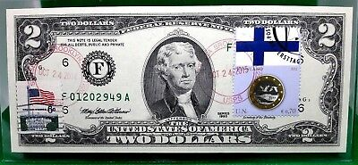 Money Us $2 Dollars 2013 Frn  Atlanta Coin And Flag Of Finland Gem Unc