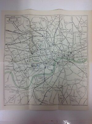Outline Railway & Road Map Of  London, 1930, Vintage Map,  Atlas