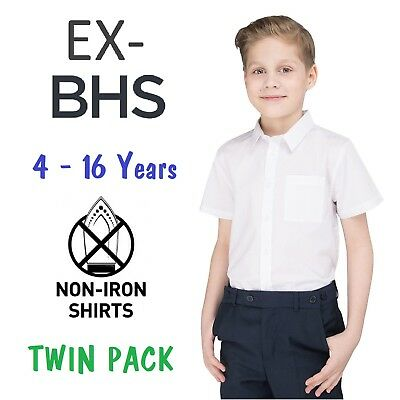 Ex BHS Boys School Shirt Twin-Pack White Short Sleeved Ages 4-16 Slim/ Regular