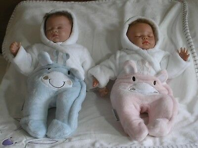 Premature Baby Fur snowsuit  White Boy Girl pink blue Tiny Baby 5 - 8 lb reborn