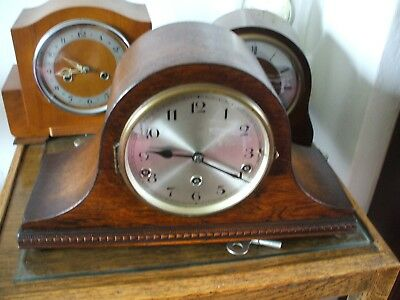 German Vintage Art Deco Napoleon Hat 8 Day Westminster Chime Mantle Clock  Vgc
