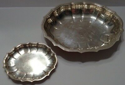 Vintage Chippendale International Silver Co. Silver Plated Serving Bowl & Tray