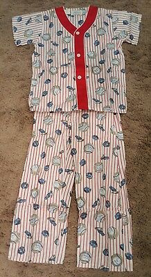 VINTAGE Boys MODEL PAJAMAS BASEBALL SHORT SLEEVE LONG LEG NEW w TAG MIDGET LEAG