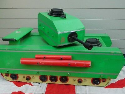 Super Size Battle Of The Bulge  Quirky Vintage Green Wooden Toy Tank Action Man